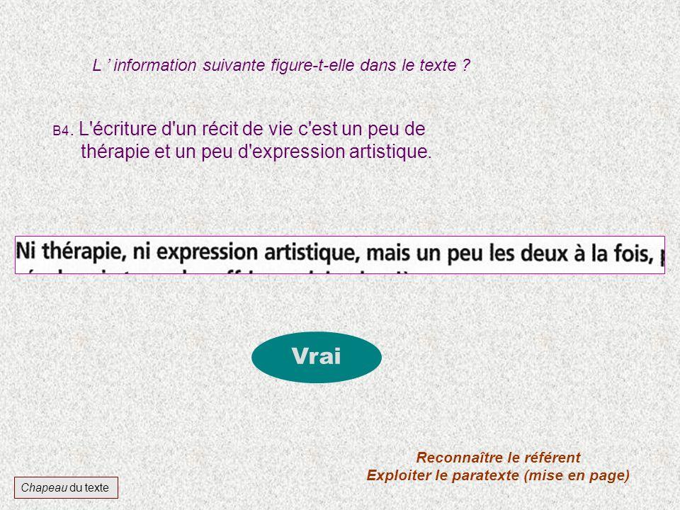 Reconnaître le référent Exploiter le paratexte (mise en page)
