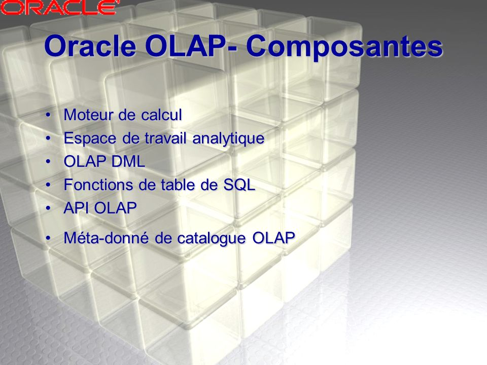 Oracle OLAP- Composantes