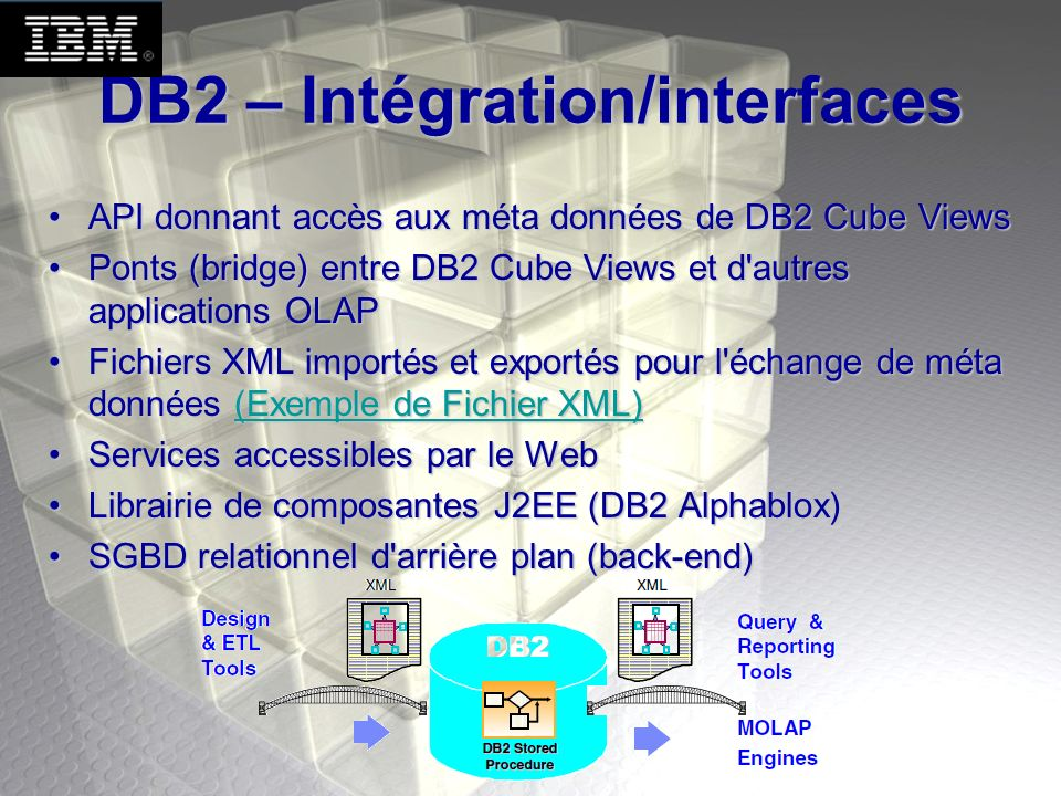 DB2 – Intégration/interfaces