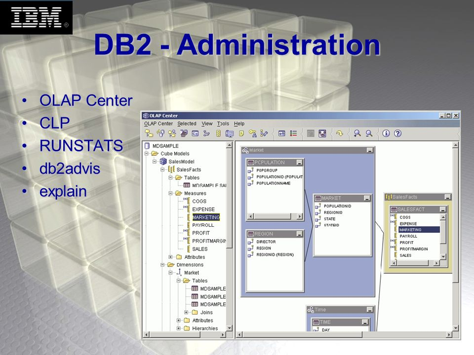 DB2 - Administration OLAP Center CLP RUNSTATS db2advis explain