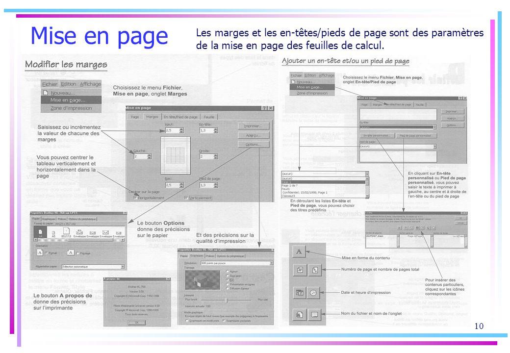 Mise en page Les marges et les en-têtes/pieds de page sont des paramètres de la mise en page des feuilles de calcul.