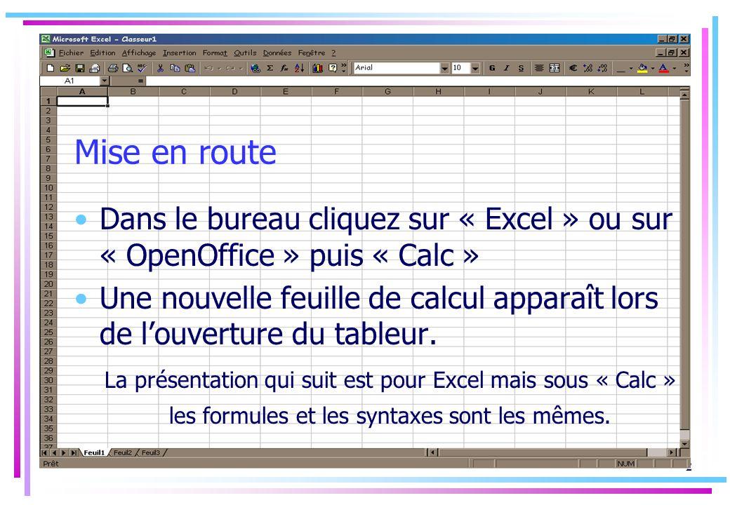 Mise en route Dans le bureau cliquez sur « Excel » ou sur « OpenOffice » puis « Calc »