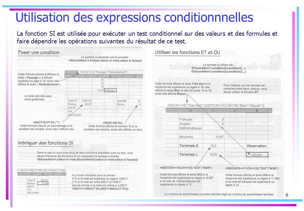 Utilisation des expressions conditionnnelles