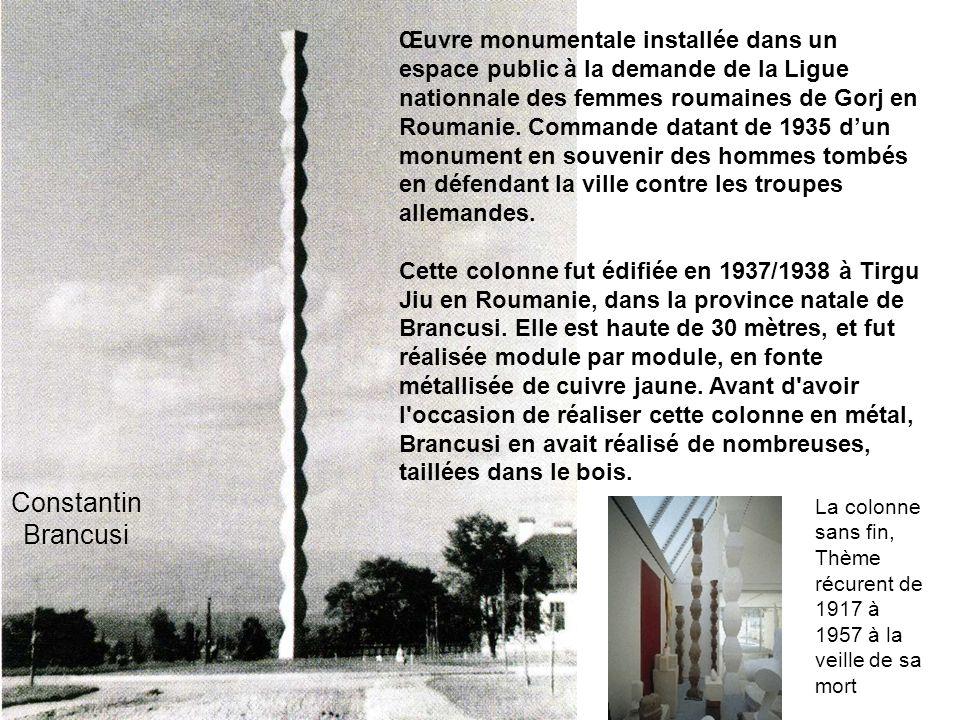 Œuvre monumentale installée dans un espace public à la demande de la Ligue nationnale des femmes roumaines de Gorj en Roumanie. Commande datant de 1935 d'un monument en souvenir des hommes tombés en défendant la ville contre les troupes allemandes.