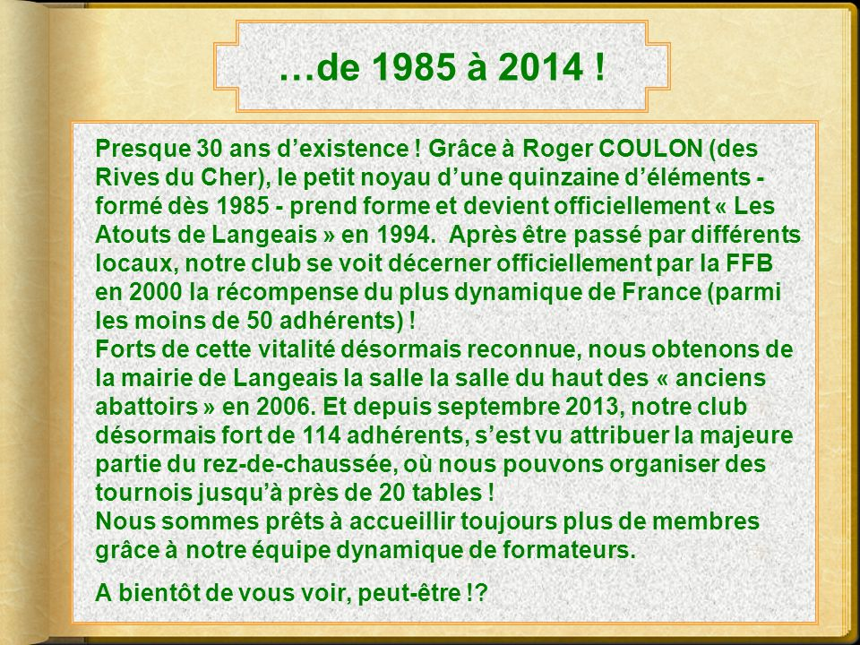 …de 1985 à 2014 !