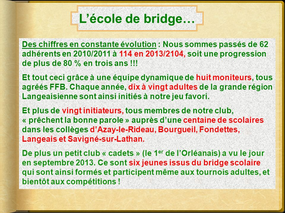 L'école de bridge…