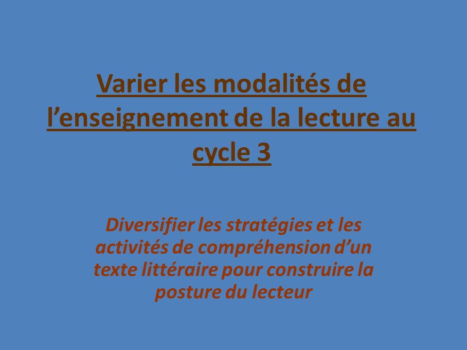 Varier les modalités de l'enseignement de la lecture au cycle 3