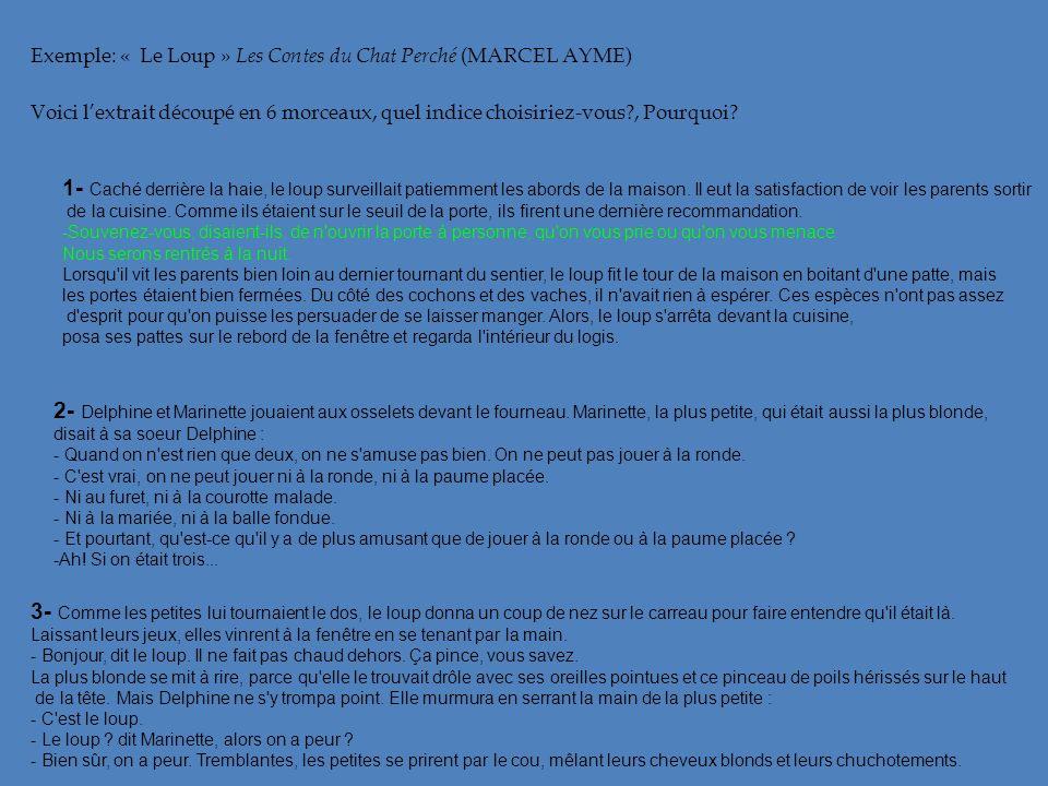 Exemple: « Le Loup » Les Contes du Chat Perché (MARCEL AYME)