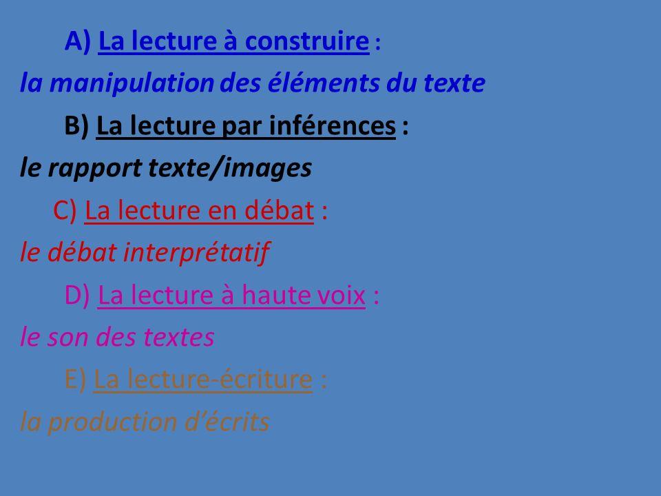 la manipulation des éléments du texte B) La lecture par inférences :