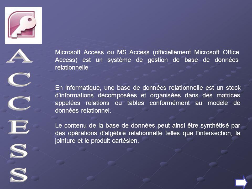 Microsoft Access ou MS Access (officiellement Microsoft Office Access) est un système de gestion de base de données relationnelle