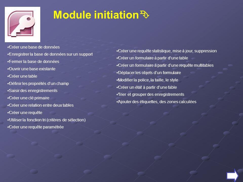 Module initiation Créer une base de données
