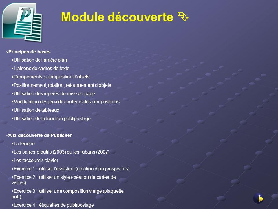 Module découverte  Principes de bases Utilisation de l'arrière plan