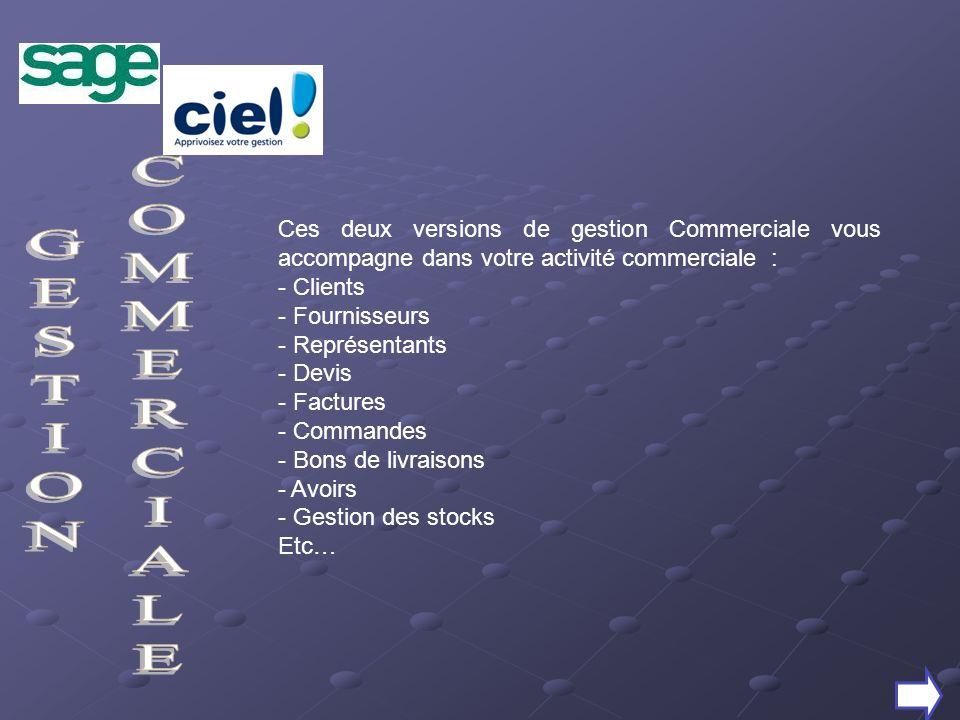 Ces deux versions de gestion Commerciale vous accompagne dans votre activité commerciale :