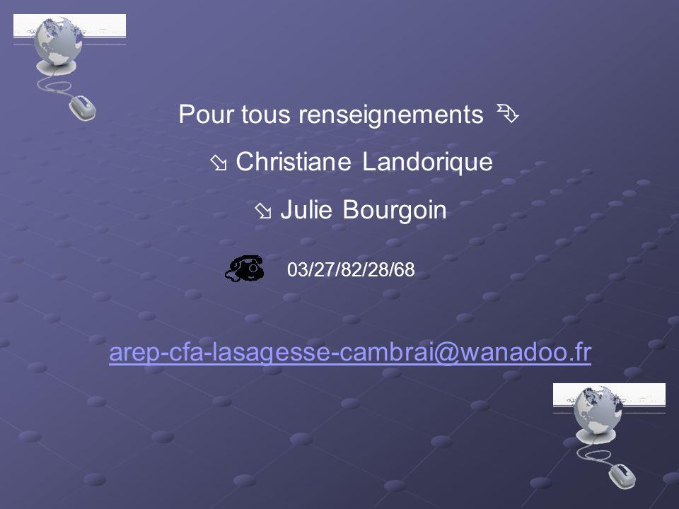 Pour tous renseignements   Christiane Landorique  Julie Bourgoin