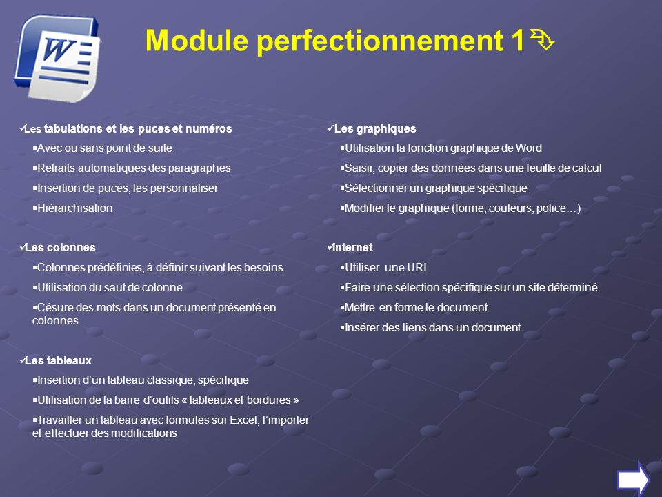 Module perfectionnement 1