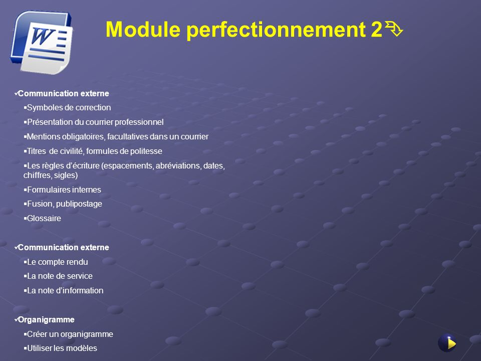 Module perfectionnement 2