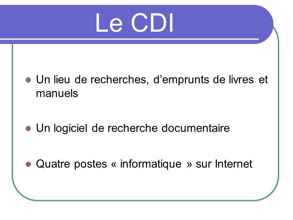 Le CDI Un lieu de recherches, d'emprunts de livres et manuels