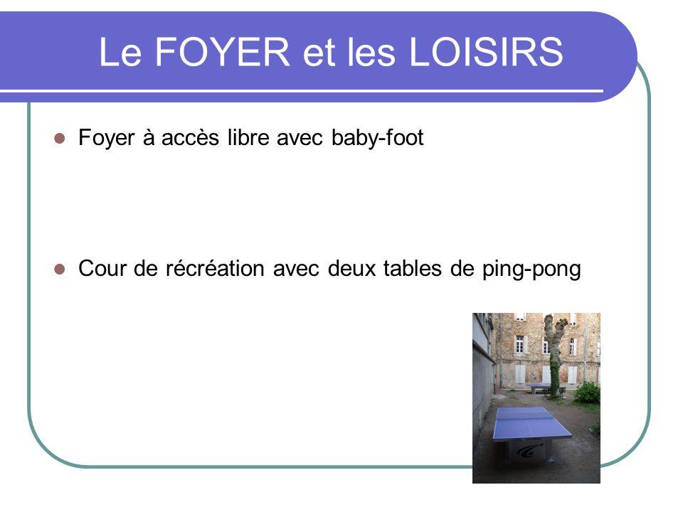Le FOYER et les LOISIRS Foyer à accès libre avec baby-foot