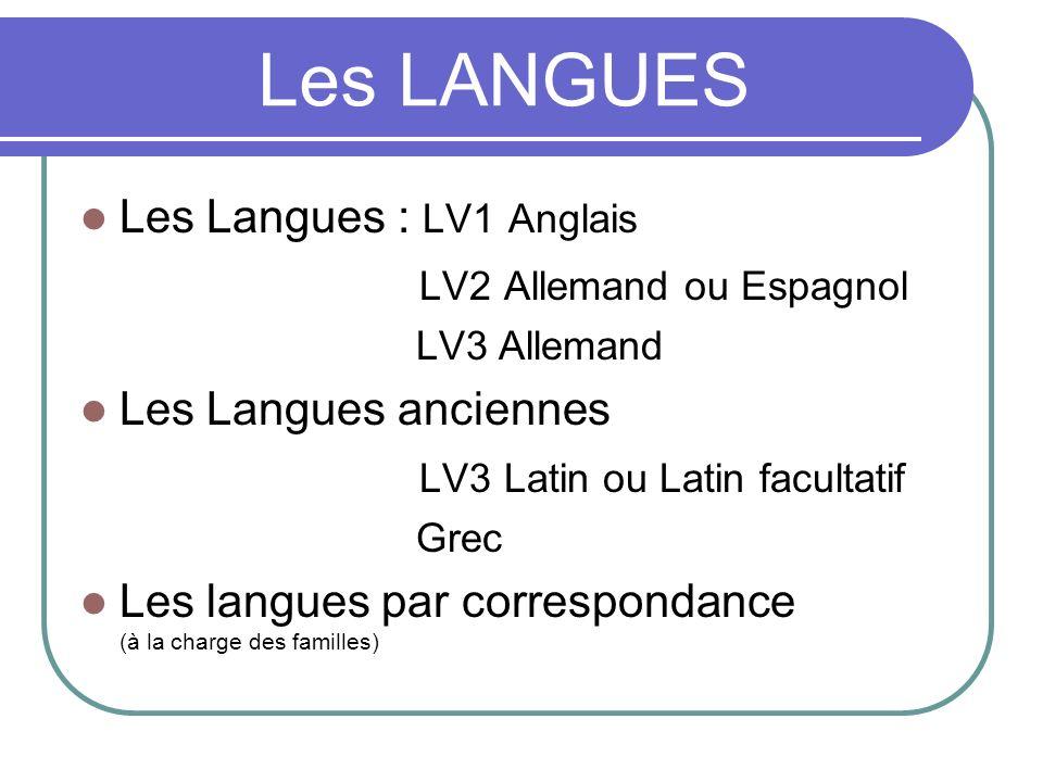 Les LANGUES Les Langues : LV1 Anglais LV2 Allemand ou Espagnol