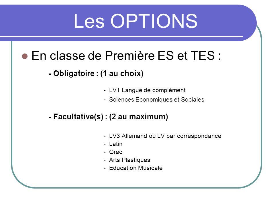 Les OPTIONS En classe de Première ES et TES :