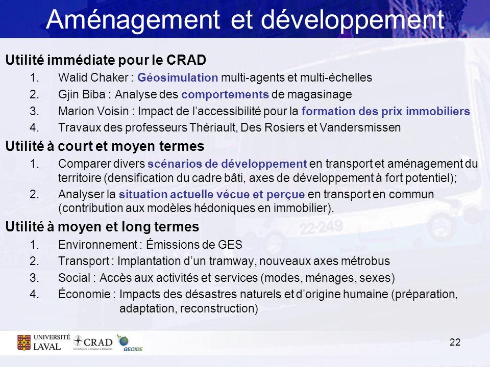 Aménagement et développement