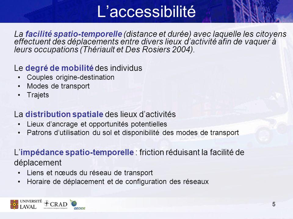 L'accessibilité La distribution spatiale des lieux d'activités
