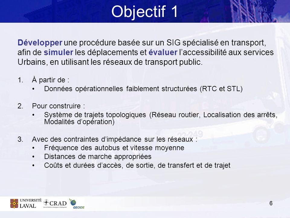 Objectif 1 Développer une procédure basée sur un SIG spécialisé en transport,