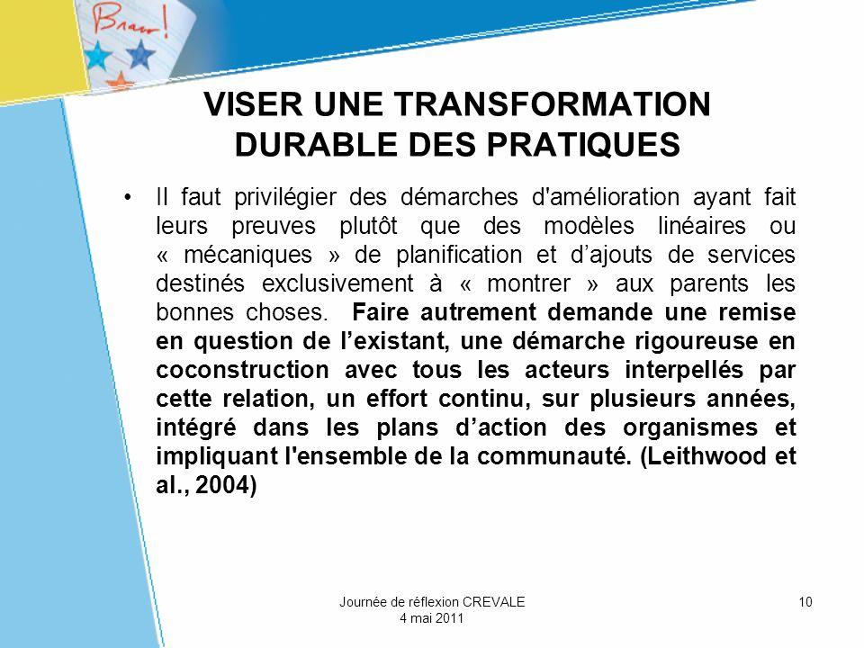 VISER UNE TRANSFORMATION DURABLE DES PRATIQUES