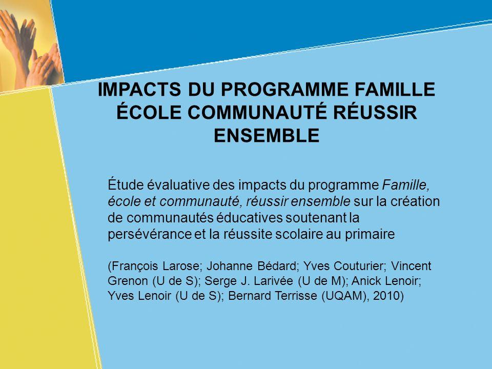 IMPACTS DU PROGRAMME FAMILLE ÉCOLE COMMUNAUTÉ RÉUSSIR ENSEMBLE