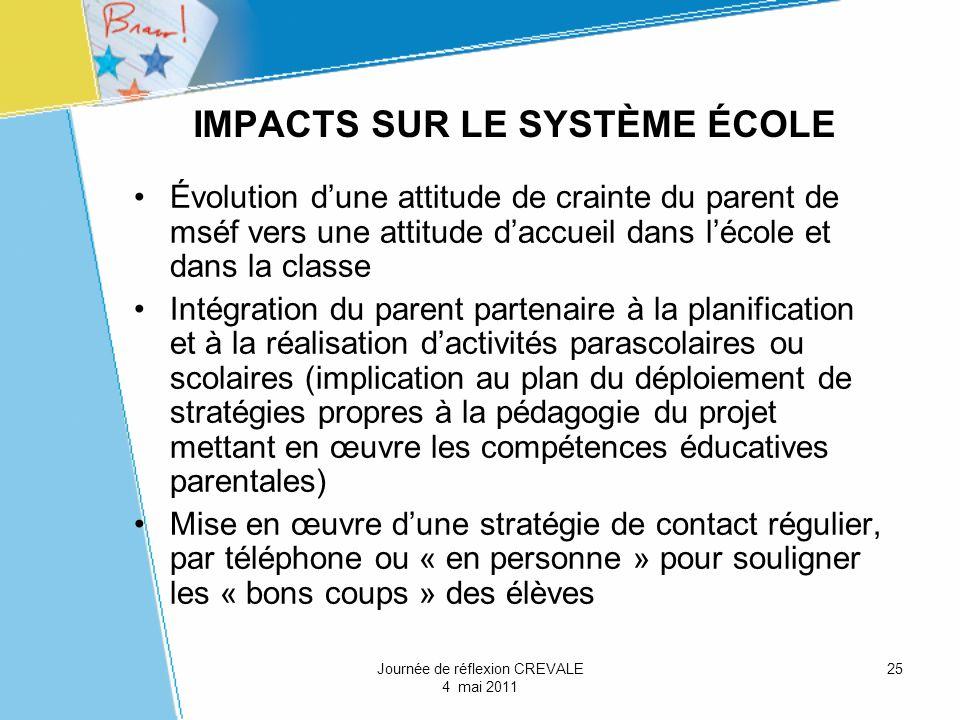 IMPACTS SUR LE SYSTÈME ÉCOLE