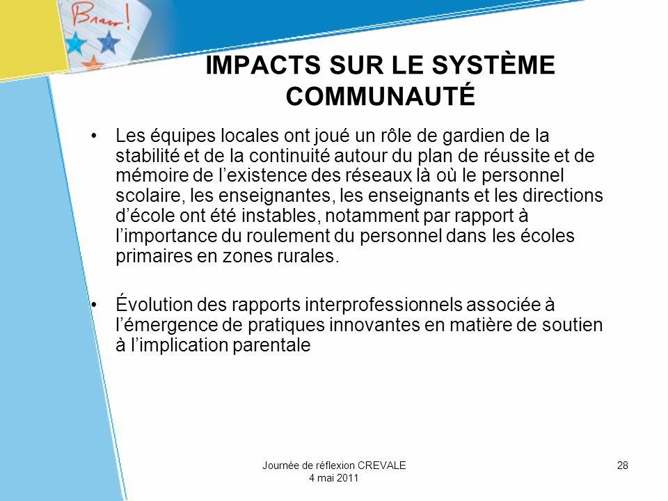 IMPACTS SUR LE SYSTÈME COMMUNAUTÉ