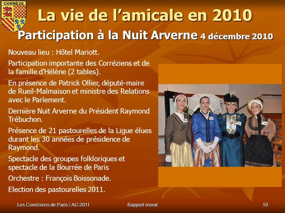 La vie de l'amicale en 2010 Participation à la Nuit Arverne 4 décembre 2010. Nouveau lieu : Hôtel Mariott.