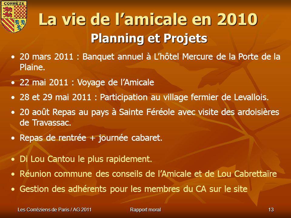 La vie de l'amicale en 2010 Planning et Projets