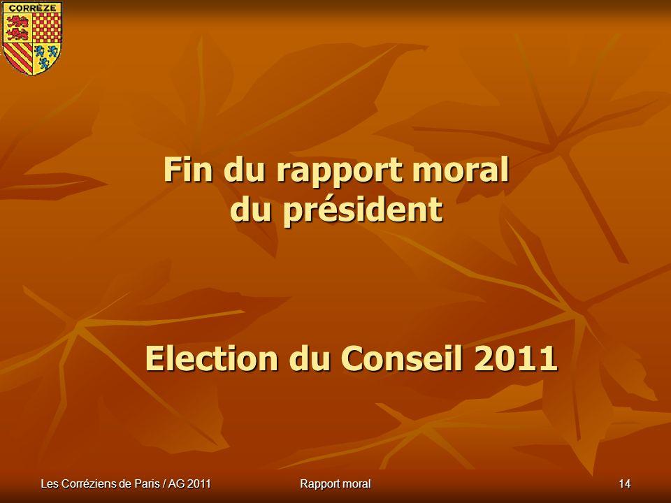 Fin du rapport moral du président
