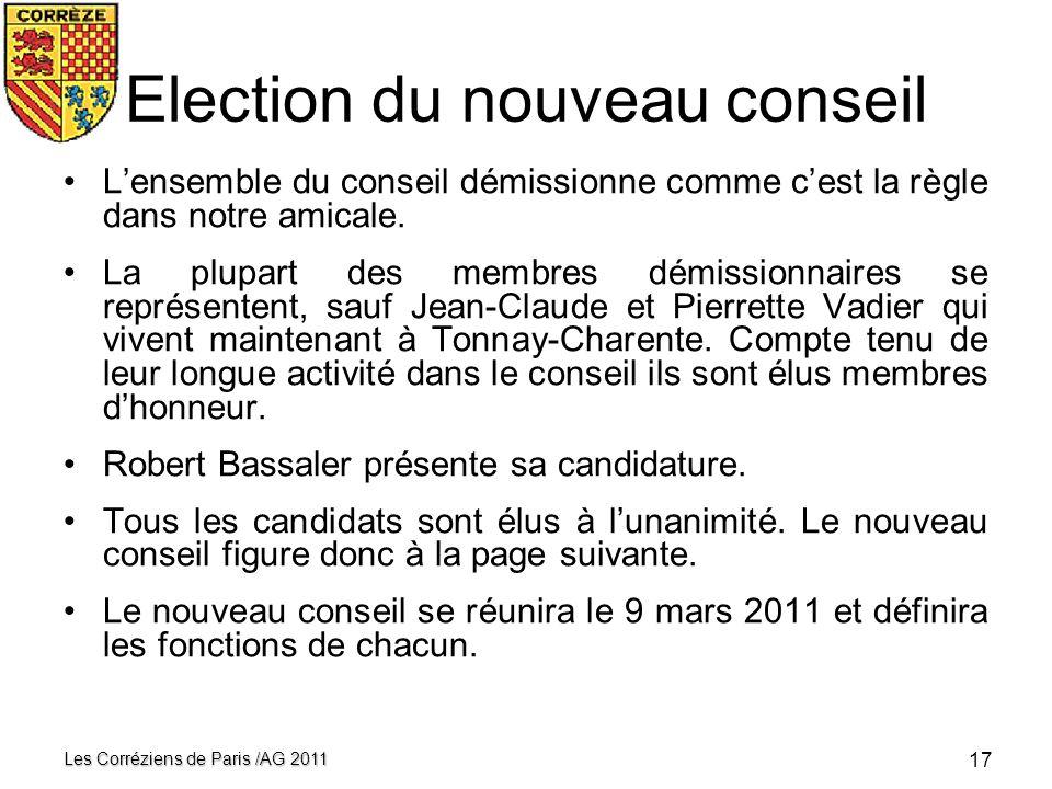 Election du nouveau conseil