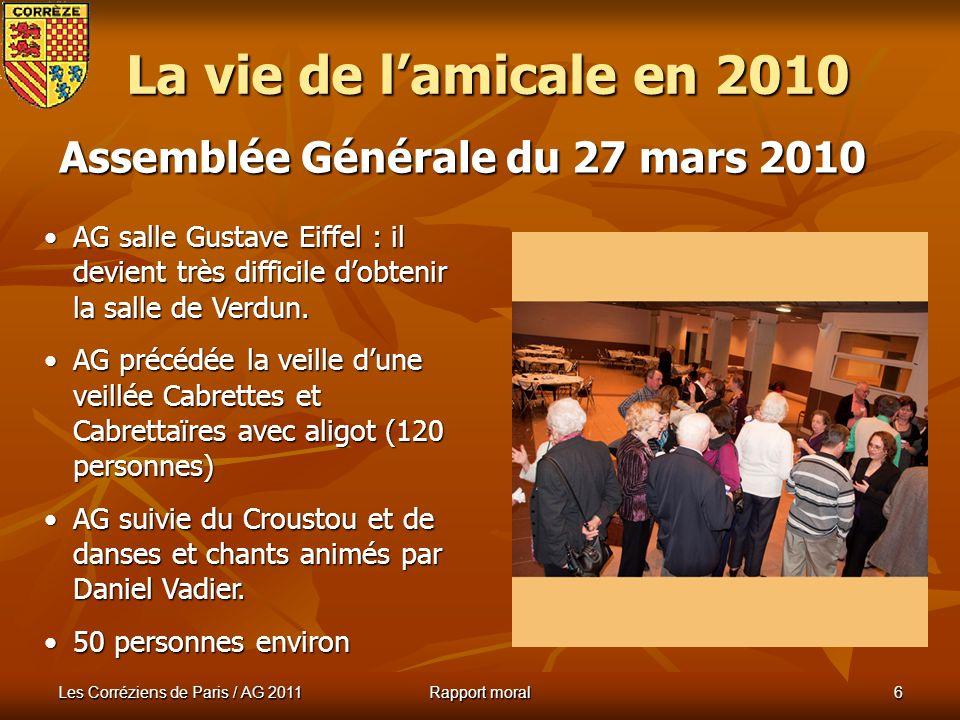 La vie de l'amicale en 2010 Assemblée Générale du 27 mars 2010