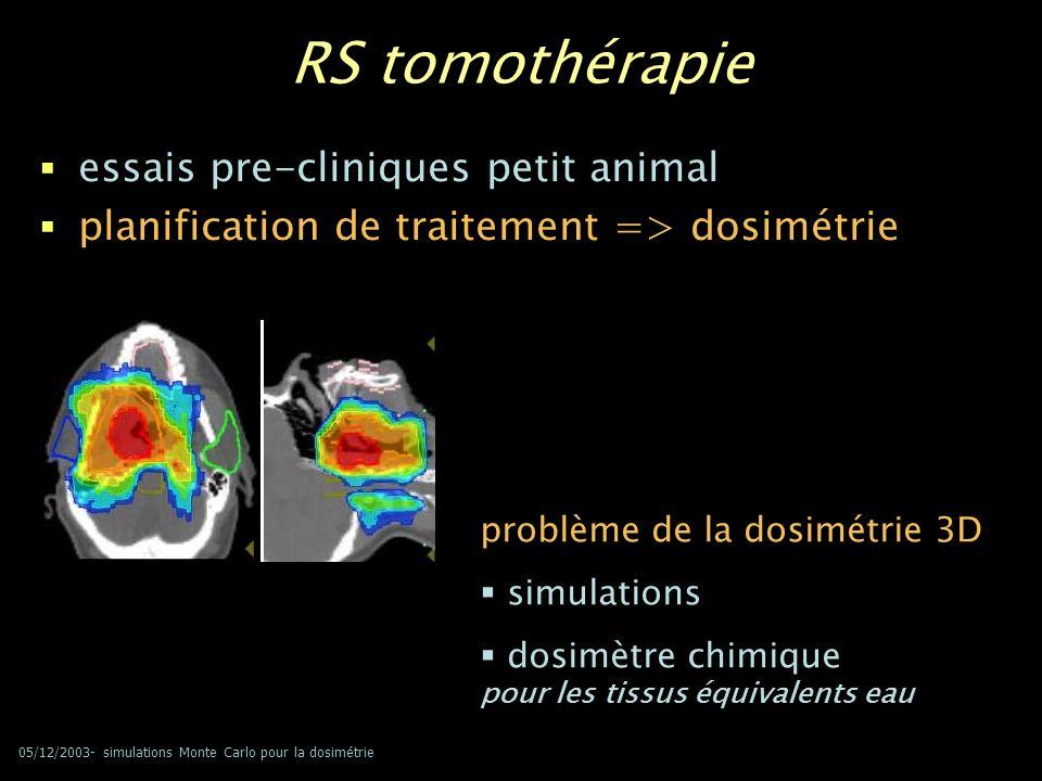 RS tomothérapie essais pre-cliniques petit animal