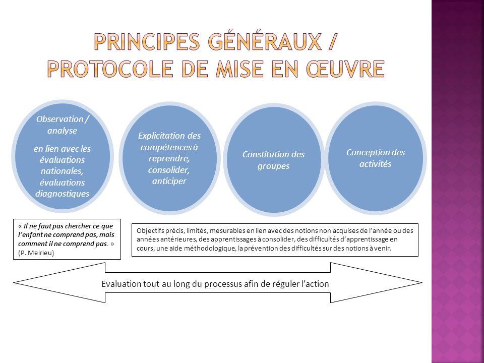 Principes généraux / PROTOCOLE DE MISE EN ŒUVRE