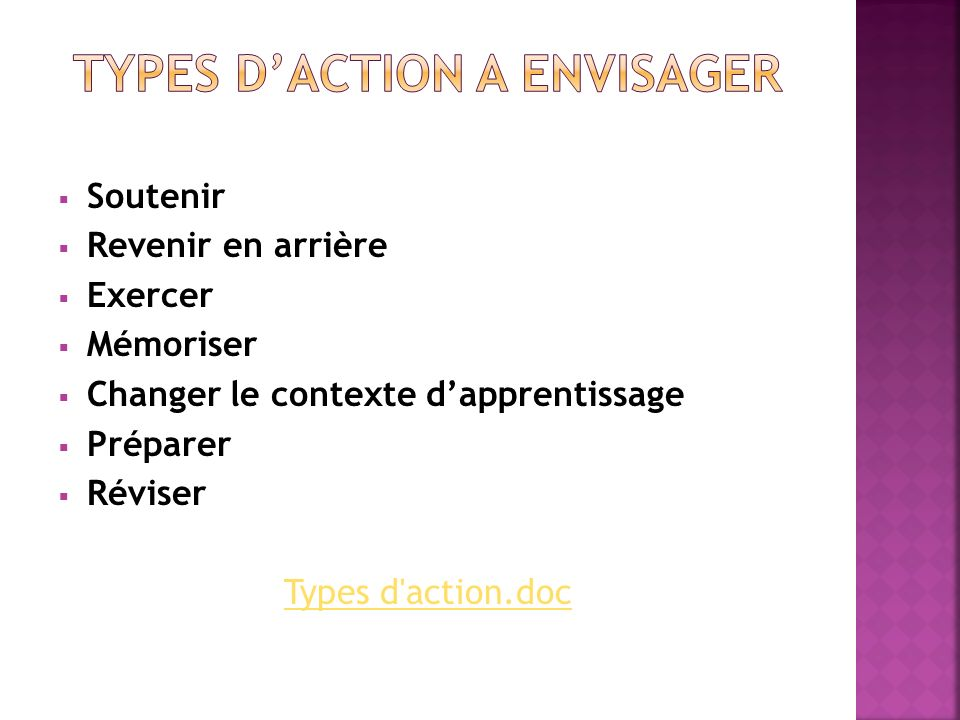 TYPES D'ACTION A ENVISAGER