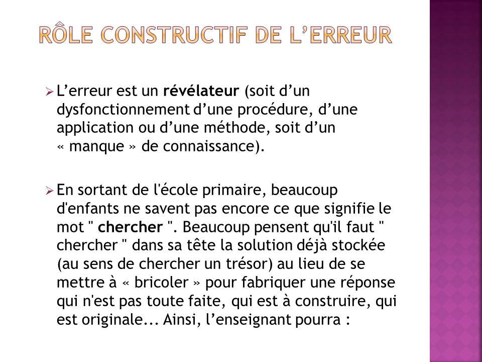 RÔLE CONSTRUCTIF DE L'ERREUR