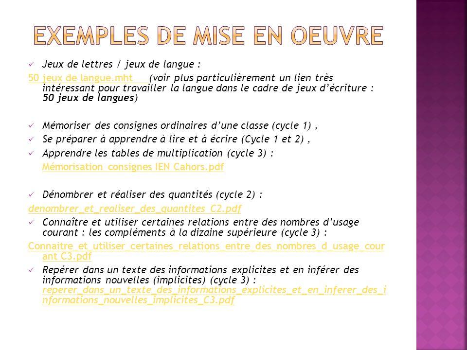 EXEMPLES DE MISE EN OEUVRE