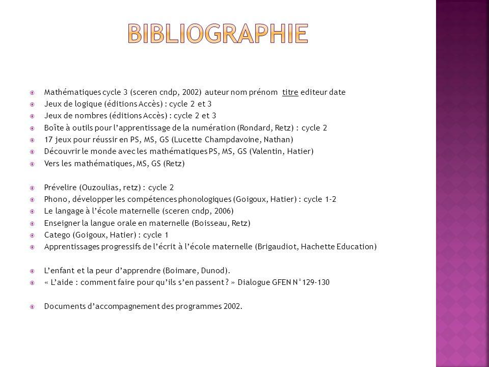 BIBLIOGRAPHIE Mathématiques cycle 3 (sceren cndp, 2002) auteur nom prénom titre editeur date. Jeux de logique (éditions Accès) : cycle 2 et 3.