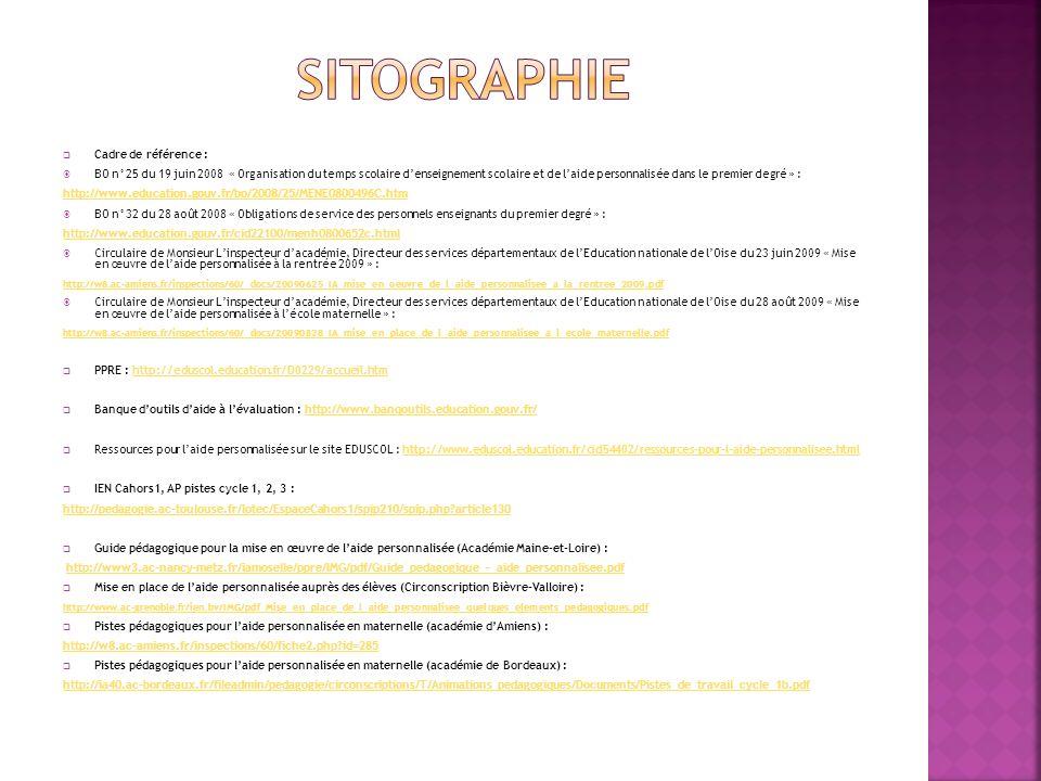 SITOGRAPHIE Cadre de référence :