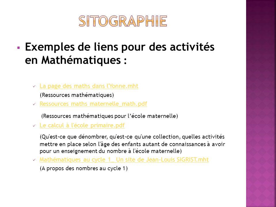 SITOGRAPHIE Exemples de liens pour des activités en Mathématiques :