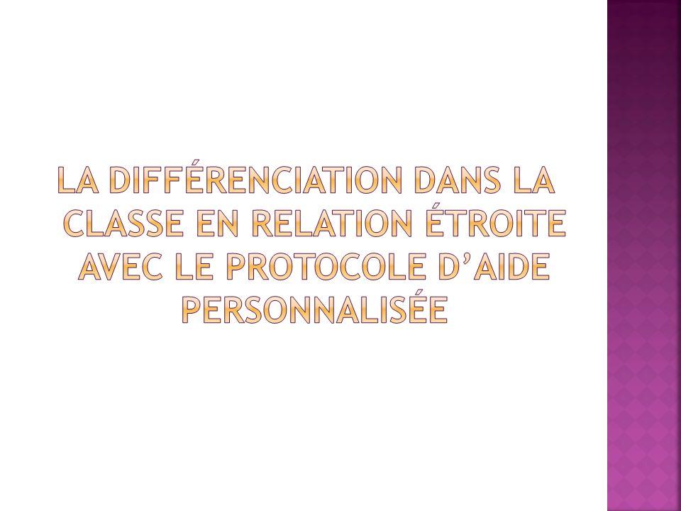 La différenciation dans la classe en relation étroite avec le protocole d'aide personnalisée