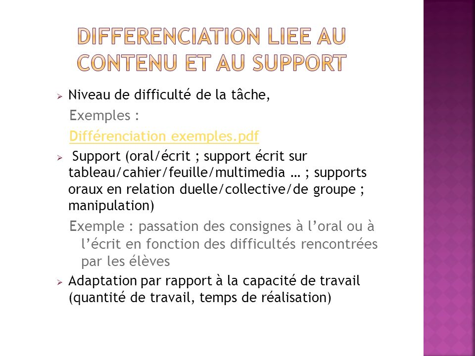 DIFFERENCIATION LIEE AU CONTENU ET AU SUPPORT
