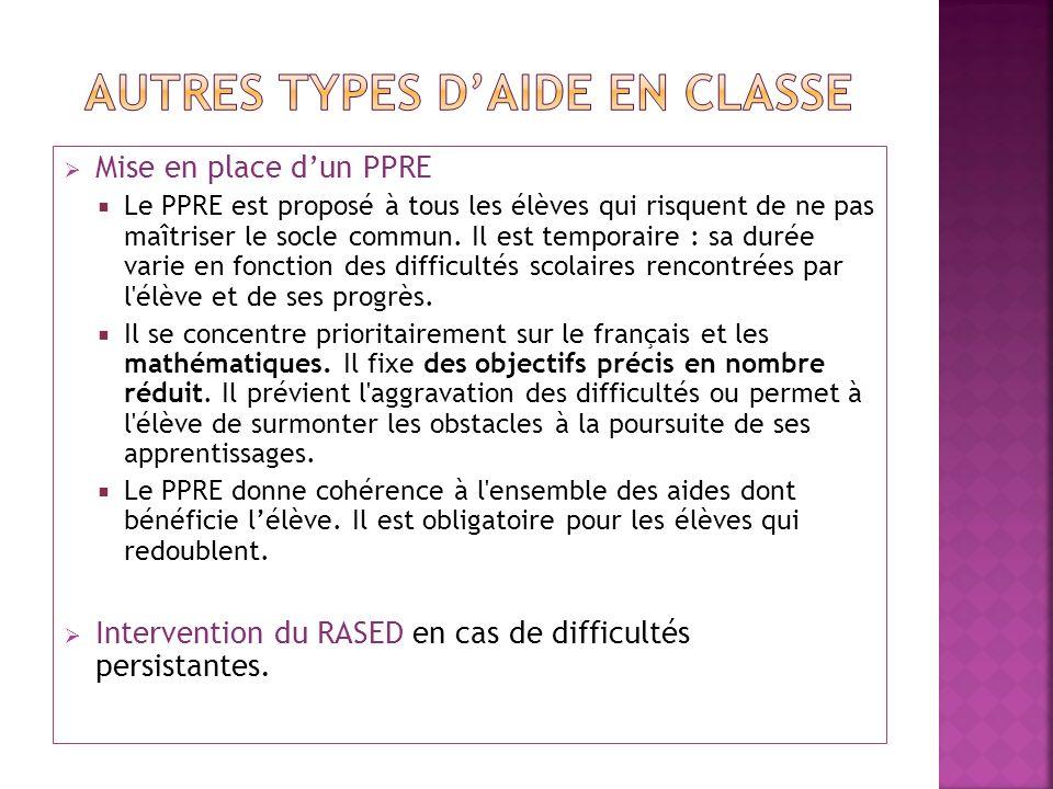 AUTRES TYPES D'AIDE EN CLASSE
