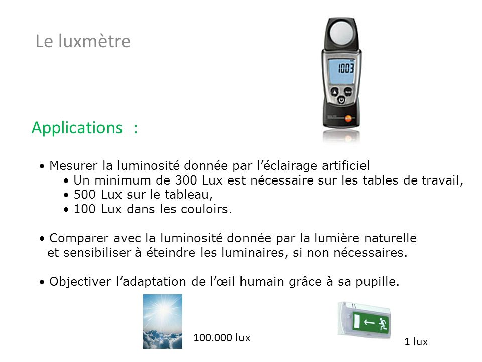 Le luxmètre Applications :