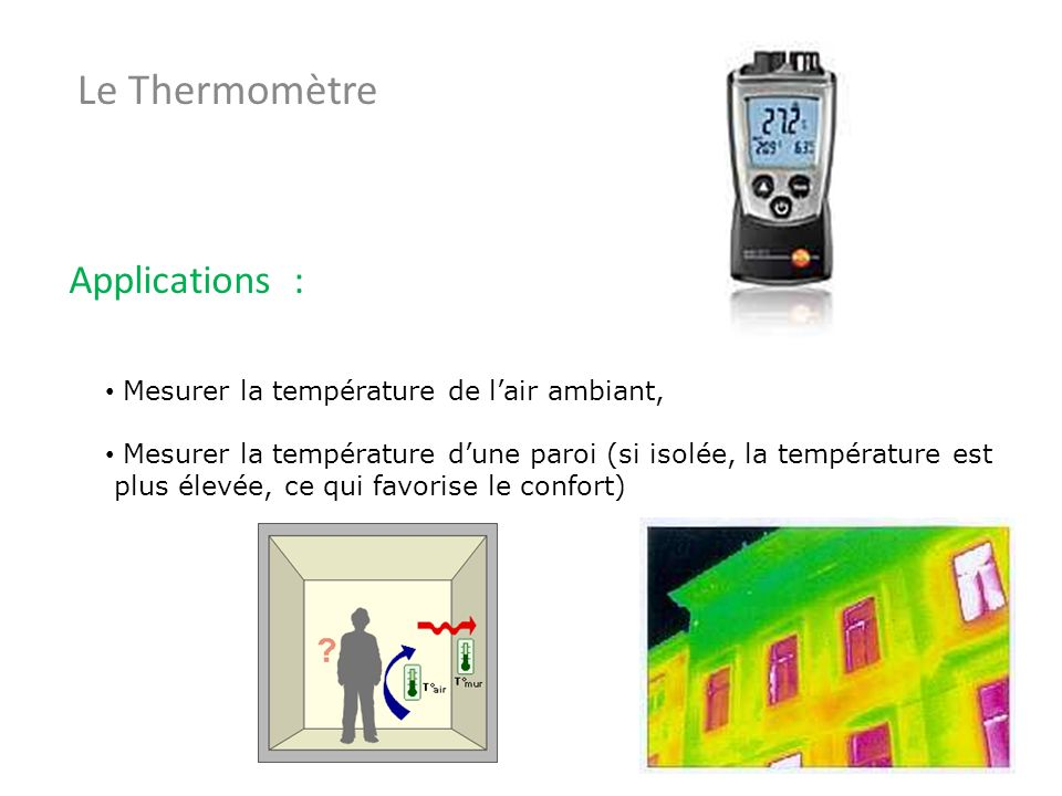 Le Thermomètre Applications : Mesurer la température de l'air ambiant,