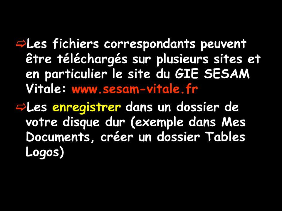 Les fichiers correspondants peuvent être téléchargés sur plusieurs sites et en particulier le site du GIE SESAM Vitale: www.sesam-vitale.fr